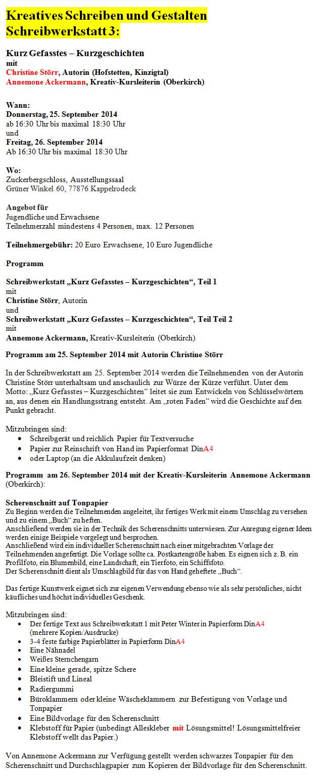 Schreibwerkstatt in Serie / Kappelrodeck Zuckerbergschloss